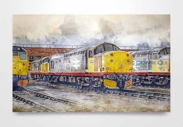 Class 37s on Thornaby Depot Digital Painting Wall Art Print