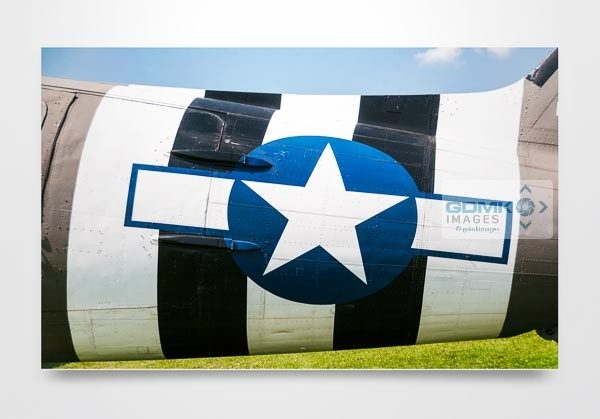 D Day Stripes on Side of C47 Wall Art Print
