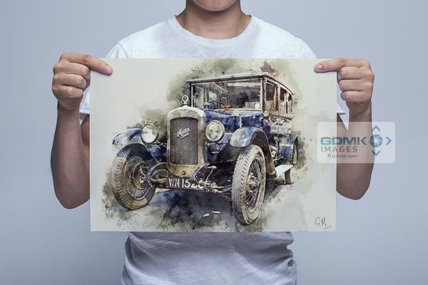 Man Holding Austin 16 Classic Car Wall Art Picture
