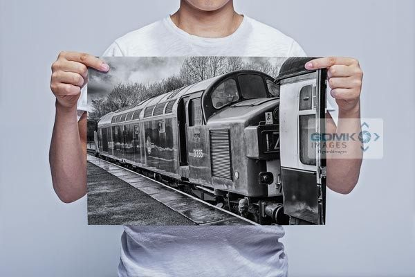 Man Holding Black and White Class 40 D335 Wall Art Print