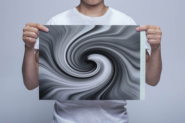 Man Holding Black and White Vortex Digital Art Print