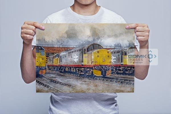 Man Holding Class 37s on Thornaby Depot Digital Painting Wall Art Print