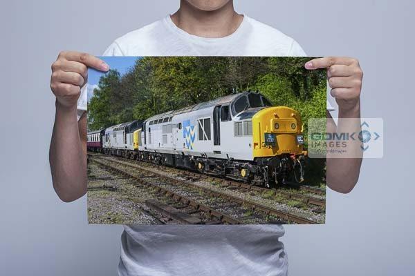 Man Holding Double Headed Railfreight Class 37s Wall Art Print
