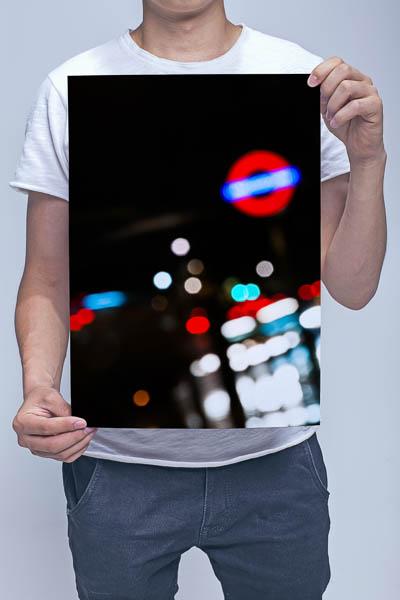 Man Holding London Lights at Night Wall Art Print