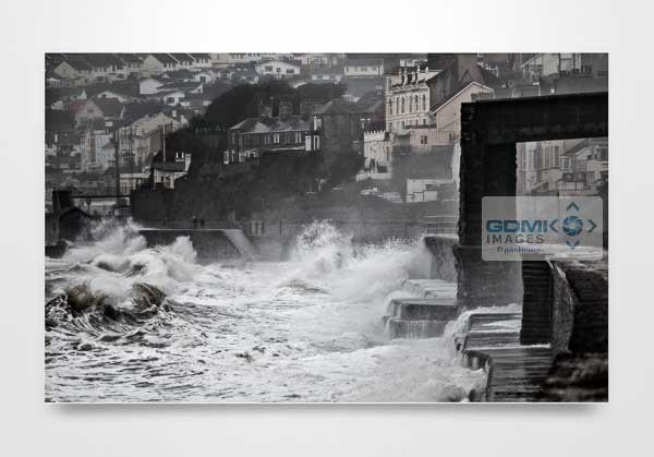 Waves Crashing Against Dawlish Sea Wall Art Print