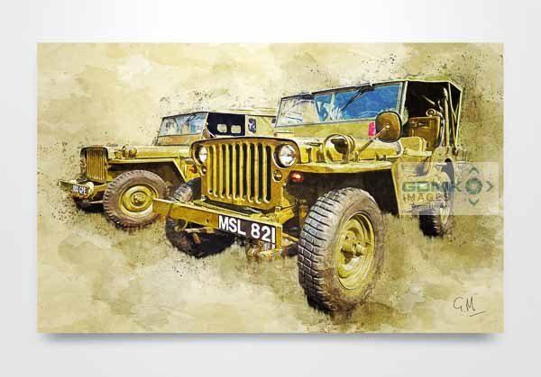 2 Hodgkiss Jeeps Digital Art Picture Art Print