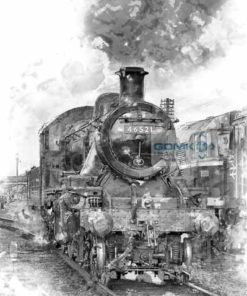 Black and White Digital Art picture of LMS Ivatt Class 2 steam loco 46521 at Loughborough on the Great Central Railway