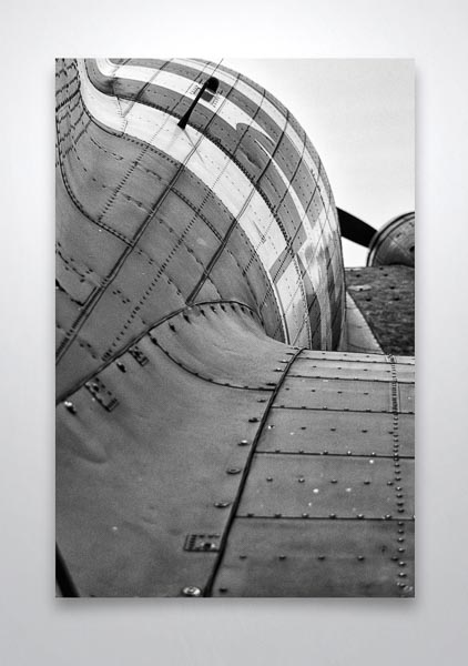 Abstract Black and White Rear View of a Dakota Airplane Wall Art Print