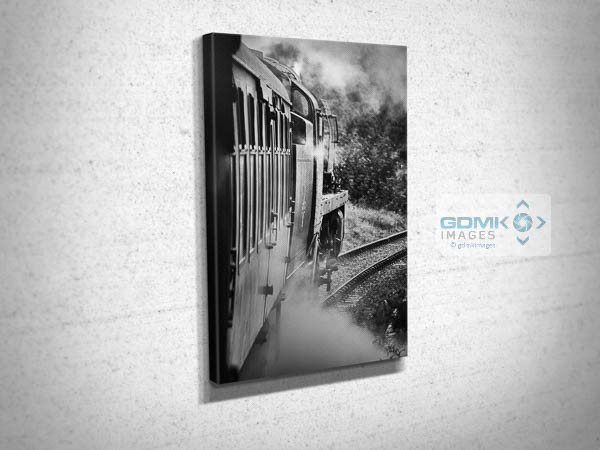 Behind Bulleid 34053 in Black and White Canvas Print