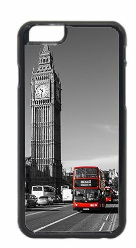 Black and White Big Ben with Red London Buses Mobile Phone Case