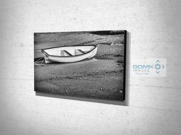 Black and White Boat on a Beach Canvas Print