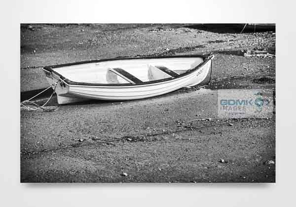 Black and White Boat on a Beach Wall Art Print