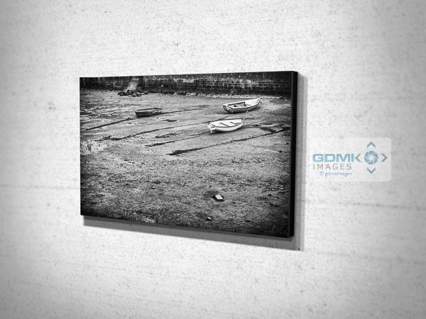 Black and White Boats on a Beach Canvas Prints