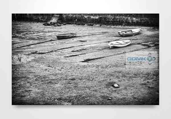 Black and White Boats on a Beach Wall Art Prints