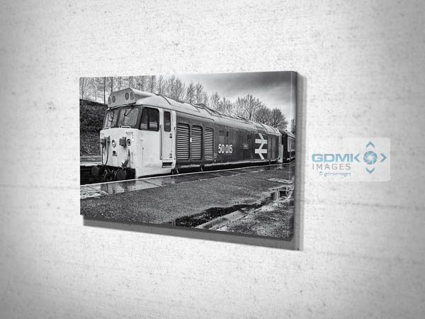 Black and White Class 50 Loco 50015 Valiant at Bury Canvas Print