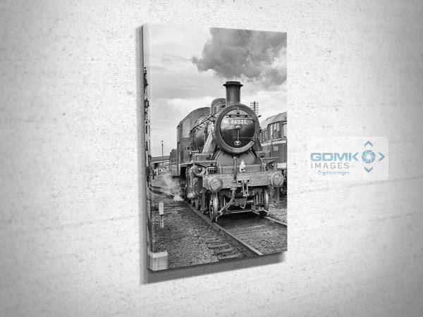 Black and White Ivatt Class 2 Steam Train Canvas Print