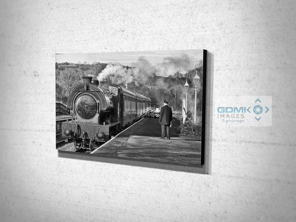 Black and White Steam Train at Darley Dale Station Canvas Print