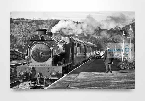 Black and White Steam Train at Darley Dale Station Wall Art Print
