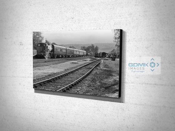 Black and White Steam Train at Rowsley Station Canvas Print
