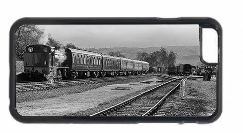 Black and White Steam Train at Rowsley Station Mobile Phone Case