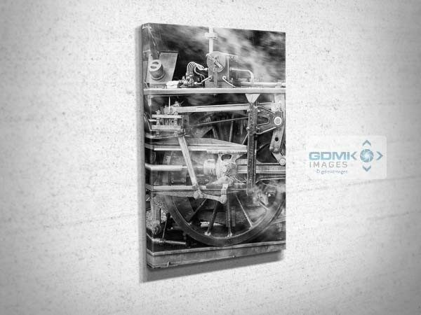 Black and White Steam Train Mechanism Canvas Print