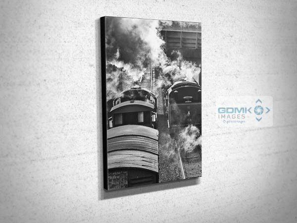 Black and White Steam Trains Passing Canvas Print