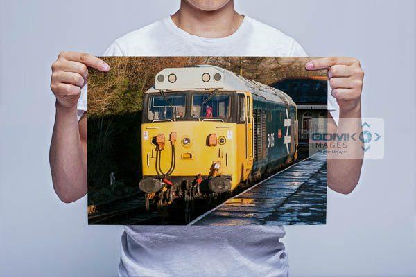 Man Holding Class 50 50015 Valiant at Rawtenstall Railway Station Wall Art Print