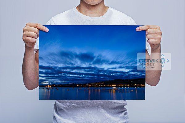 Man Holding River Teign Blue Hour Wall Art Print