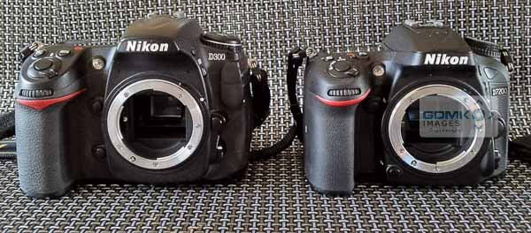 Nikon D300 and D7200 side by side front view