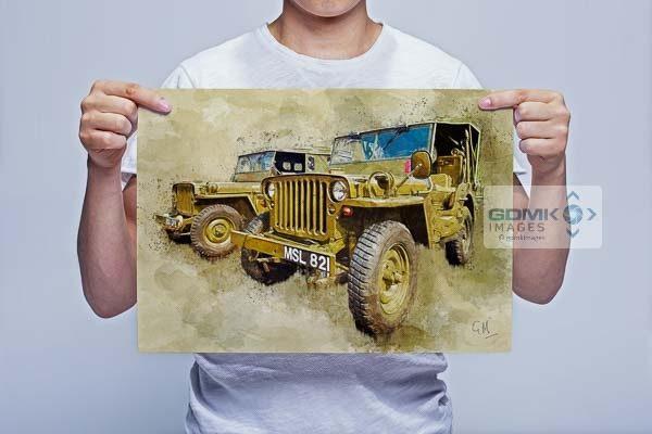 Man Holding 2 Hodgkiss Jeeps Digital Art Picture Art Print