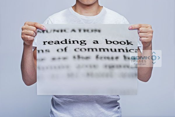 Man Holding Abstract Reading a Book Words Wall Art Print
