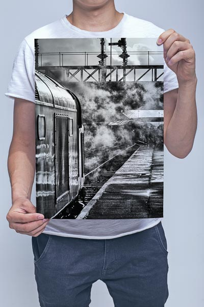 Man Holding Black and White Class 40 D345 at Bury Wall Art Print