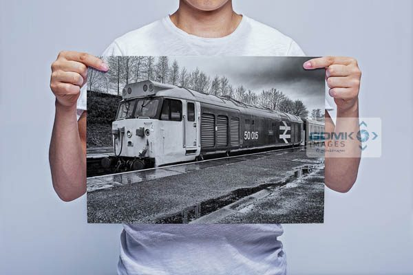 Man Holding Black and White Class 50 Loco 50015 Valiant at Bury Wall Art Print