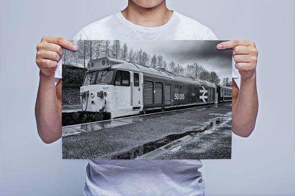 Man Holding Black and White Class 50 Loco 50015 Valiant at Bury Wall Art Print