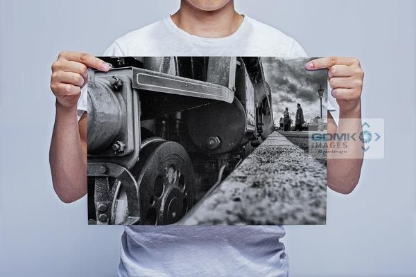 Man Holding Black and White Low angle Bulleid Light Pacific Wall Art Print