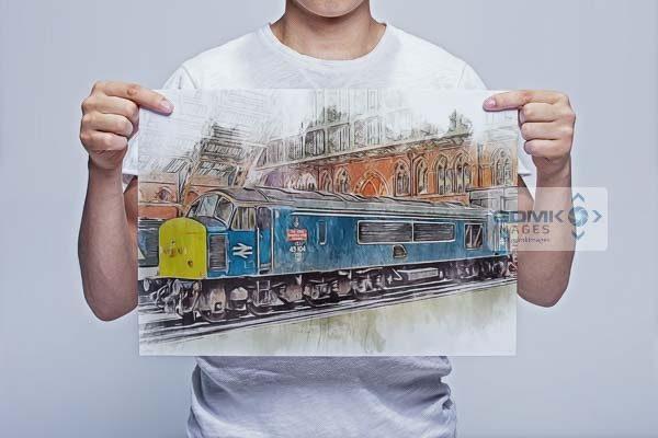 Man Holding Class 45 Loco 45104 Wall Art Print