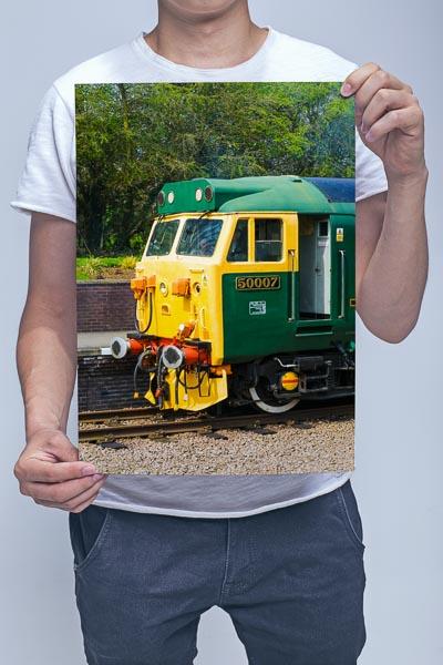 Man Holding Class 50 50007 Cab Wall Art Print