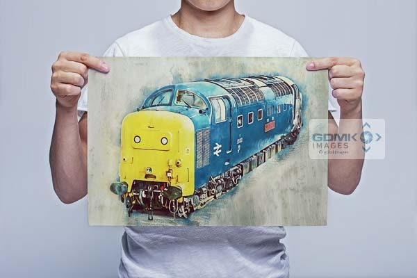 Man Holding Class 55 55002 Digital Art Wall Art Print