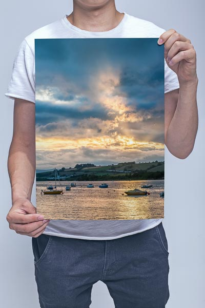 Man Holding Dramatic Sky Over the River Teign Wall Art Print