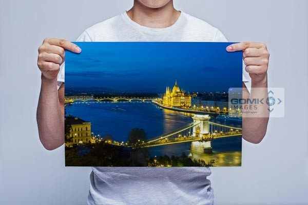 Man Holding Dusk over Chain Bridge and River Danube Wall Art Print