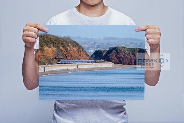 Man Holding HST Train on Dawlish Sea Wall Art Print