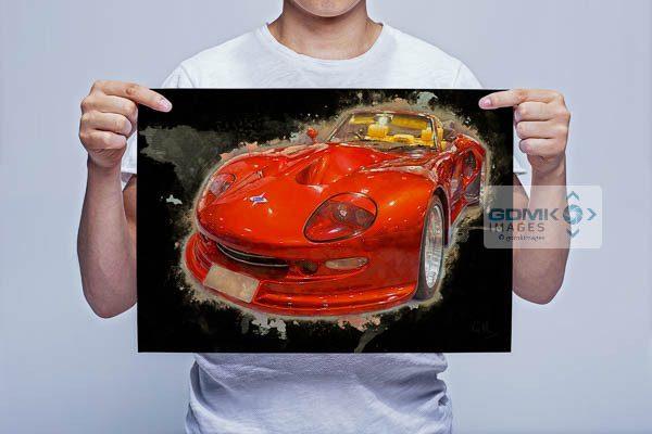 Man Holding Red Marcos Mantis Car Digital Art Print