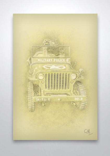 Military Police Willys Jeep Pencil Art Print