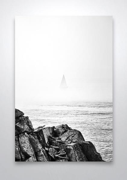 Sailboat Disappearing Into the Sea Mist Wall Art Print