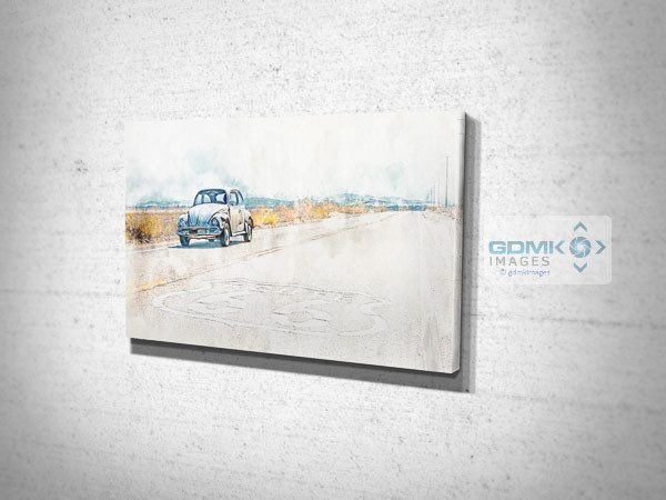 VW Beetle on Route 66 Digital Art Canvas Print