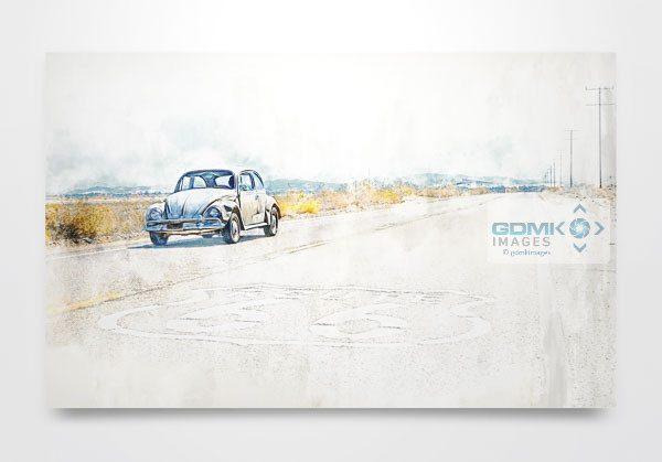 VW Beetle on Route 66 Digital Art Print