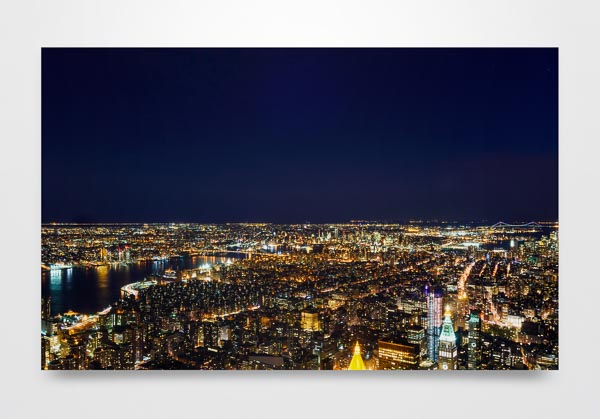 City lights of New York at night Wall Art Print