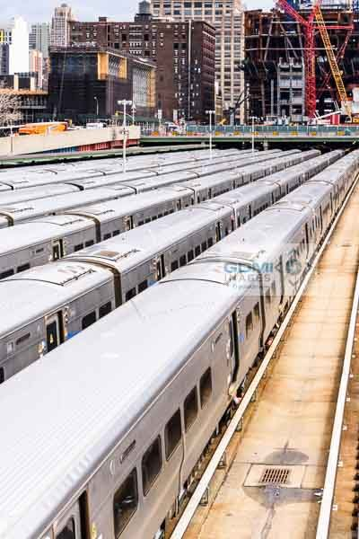 Long Island Railroad Commuter trains stabled in the Hudson Yards
