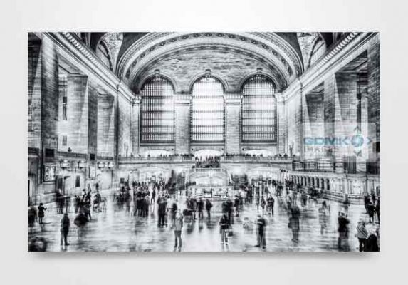 New York Grand Central Station in Black and White Wall Art Print