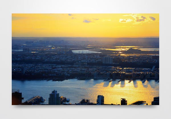 Sunset over the Hudson River Landscape Wall Art Print